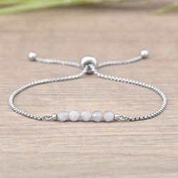 Bracelet Sofia en Acier et Pierres Naturelles à Facettes 4MM - Jade Blanc