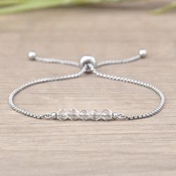 Bracelet Sofia en Acier et Pierres Naturelles à Facettes 4MM - Cristal de Roche