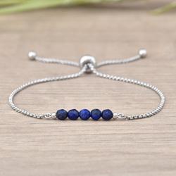 Bracelet Sofia en Acier et Pierres Naturelles à Facettes 4MM - Lapis Lazuli