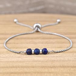 Bracelet Alicia en Acier et Pierres Naturelles Cubes Facettés 4MM - Lapis Lazuli