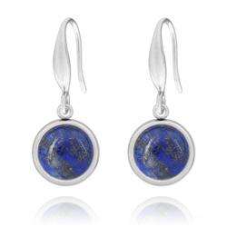 Boucles d'Oreilles Manon en Acier et Cabochon en Pierres Naturelles 10mm - Lapis Lazuli