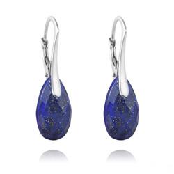 Boucles d'Oreilles Goutte à Facettes 16mm en Argent et Pierres Naturelles - Lapis Lazuli