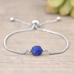 Bracelet Angelina en Acier et Pierres Naturelles Star Cut - Lapis Lazuli