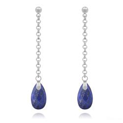 Boucles d'Oreilles Pendantes en Acier et Pierres Naturelles Gouttes 16mm - Lapis Lazuli