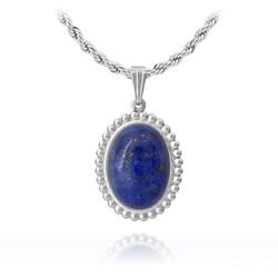 Collier Vintage Ovale en Pierre Naturelle - Lapis Lazuli