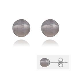 Clous d'Oreilles en Acier et Perles Facettées 6MM - Agate Grise