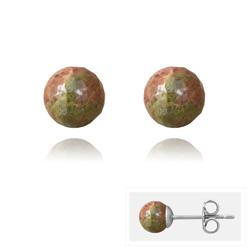 Clous d'Oreilles en Acier et Perles Facettées 6MM - Unakite