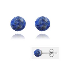 Clous d'Oreilles en Acier et Perles Facettées 6MM - Lapis Lazuli