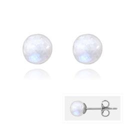 Clous d'Oreilles en Acier et Perles Facettées 6MM - Pierre de Lune