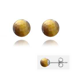 Clous d'Oreilles en Acier et Perles Facettées 6MM - Oeil de Tigre