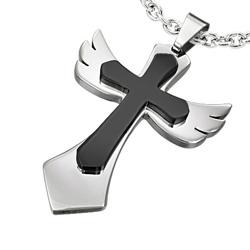 Pendentif Croix Acier Aile d'ange