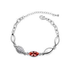 Bracelet Plaqué Or Blanc et Cristal Rouge