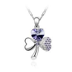 Collier Trèfle en Cristal Violet Plaqué Or Blanc