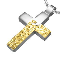Pendentif Croix Acier Doré Mixte