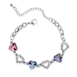 Bracelet 3 Coeurs Plaqué Or Blanc et Cristal Rose, Bleu Saphir et Mauve