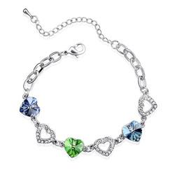 Bracelet 3 Coeurs Plaqu� Or Blanc et Cristal Bleu Saphir, Vert et Bleu