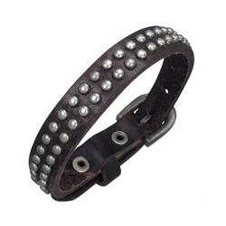 Bracelet Cuir marron Clouté