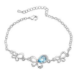 Bracelet Papillon Plaqué Or en Cristal Bleu