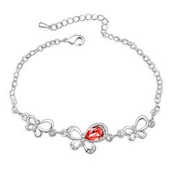 Bracelet Papillon Plaqué Or en Cristal Rouge