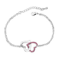 Bracelet 2 Coeurs Plaqu� Or en Cristal Rose