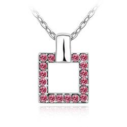 Collier Design Carré en Cristal Rose