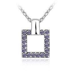 Collier Design Carré en Cristal Violet