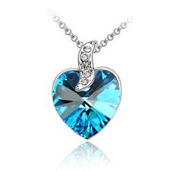 Collier Coeur Design Plaqué Or Blanc et Cristal Bleu Bermude