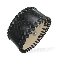 Bracelet Cuir Noir Imitation Croco