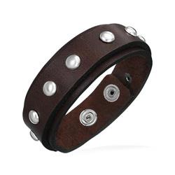 Bracelet Mixte en Cuir marron Clouté