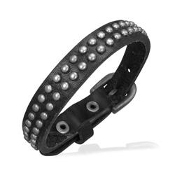 Bracelet en Cuir Noir Clouté