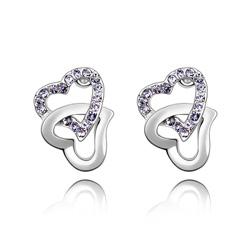 Boucles d'Oreilles 2 Coeurs en Cristal Violet