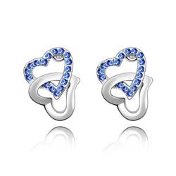 Boucles d'Oreilles 2 Coeurs en Cristal Bleu Saphir