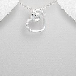 Pendentif Coeur Spirale en Argent
