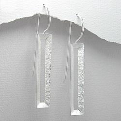 Boucles en Argent Design Brossé
