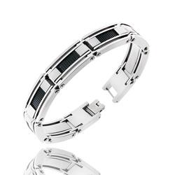 Bracelet Homme en Acier Câble noir et Carbone