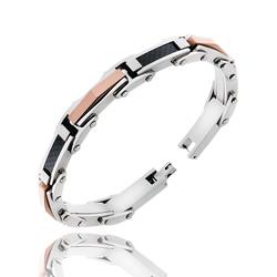Bracelet Homme en Acier 2 couleurs et Carbone