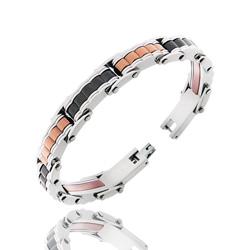 Bracelet Homme en Acier bosselé 3 couleurs