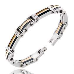 Bracelet en Acier Câ;ble Noir et Doré