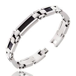 Bracelet Acier Homme Câble et Carbone Noir