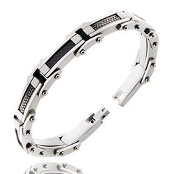 Bracelet Acier Homme Câ;ble et Carbone
