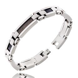Bracelet Acier Homme Câ;ble Gris et Carbone