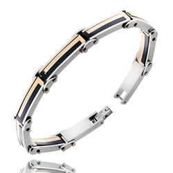 Bracelet Homme en Acier Doré, Noir et Gris