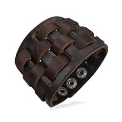Bracelet Cuir Marron Tressé