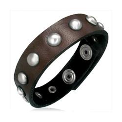 Bracelet en Cuir Marron Clouté