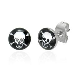 Boucles d'oreille T�te de Mort en Acier 7mm