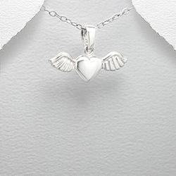 Pendentif Coeur Volant en Argent