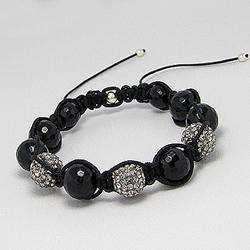 Bracelet Shamballa Cristal Blanc et Onyx Noir