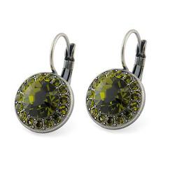 Boucles d'Oreilles Dormeuse en Cristal Vert Olive