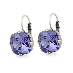 Boucles d'Oreilles Dormeuse en Cristal Violet