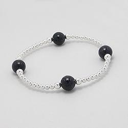 Bracelet Perle d'Argent et Blue Sand Stone